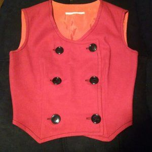 Vintage 70s red double breasted semi cropped vest